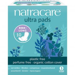 Natracare Organic Cotton Ultra Pads - Long with Wings - Pack of 10