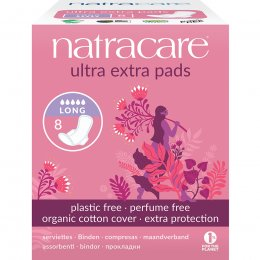 Natracare Organic Cotton Ultra Extra Pads - Long with Wings - Pack Of 8