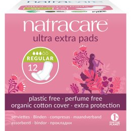Natracare Organic Cotton Ultra Extra Pads - Normal with Wings - Pack Of 12