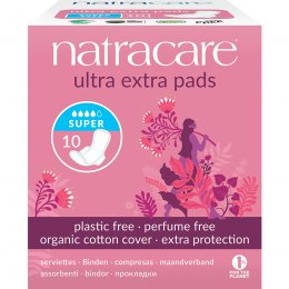 Natracare Organic Cotton Ultra Extra Pads - Super with Wings - Pack of 10