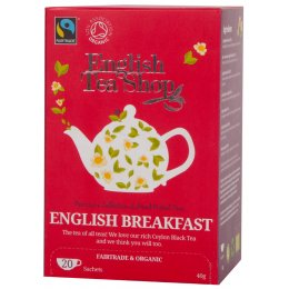 English Tea Shop Organic and Fairtrade English Breakfast Tea - 20 Bags - Sachets