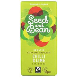 Seed and Bean Organic Extra Dark Chocolate Bar - Chilli & Lime - 85g