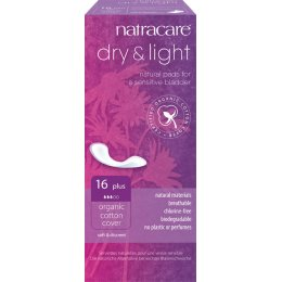 Natracare Organic Cotton Dry & Light Incontinence Pads - Plus - Pack of 16