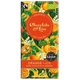 Chocolate & Love Organic & Fairtrade Orange 65 percent  Dark Chocolate Bar - 80g