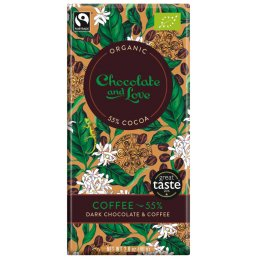 Chocolate & Love Organic & Fairtrade Coffee 55 percent  Dark Chocolate Bar - 80g