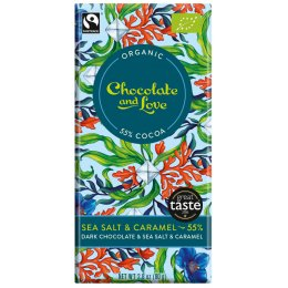 Chocolate & Love Organic Fairtrade Sea Salt & Caramel 55 percent  Dark Chocolate Bar - 80g