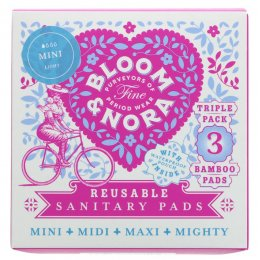 Bloom & Nora Mini Reusable Pads - Bloom - Pack of 3 with Bag