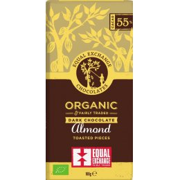 Equal Exchange 55 percent  Organic Almond Chocolate - 100g