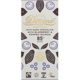 Divine Organic 85 percent  Dark Chocolate with Quinoa & Blueberry - 80g