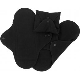 ImseVimse Black Reusable Pads - Regular - Pack of 3