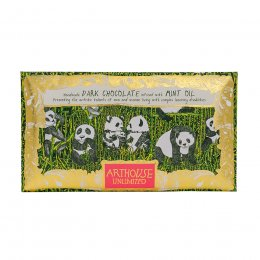ARTHOUSE Unlimited Panda Party Handmade Dark Chocolate Infused with Mint Oil - 100g