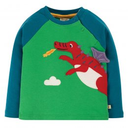 Frugi Glen Green Dragon Little Albert Applique Top