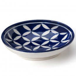 Blue Hand Painted Patterned Soap Dish