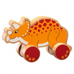 Lanka Kade Wooden Triceratops Push Along Toy