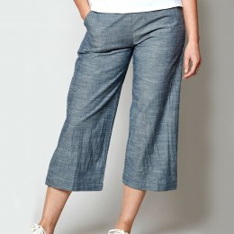 Nomads Chambray Cropped Wide Leg Trousers