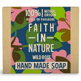 Case of 6 - Faith in Nature Wild Rose Soap Bar - 100g