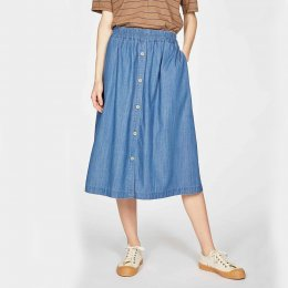 Thought Esther Button Through Skirt - Chambray Blue