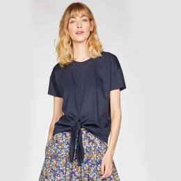Thought Stephanie Tie Front Top - Navy