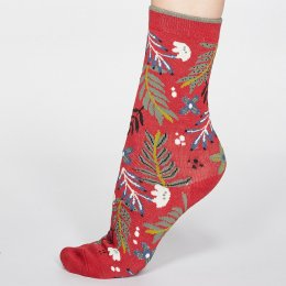Thought Coral Red Nelly Floral Bamboo Socks - UK 4-7