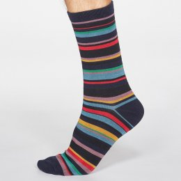Thought Dark Navy Braxton Stripe Bamboo Socks - UK 7-11