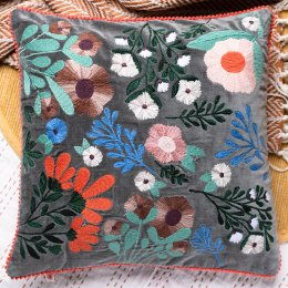 Ian Snow Grey Floral Embroidered Cotton Cusion Cover