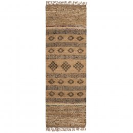 Blockprint Jute Rug with Wool and Recycled Sari - 75 x 240cm