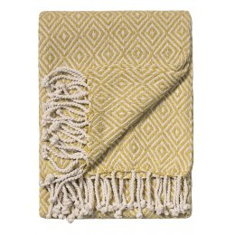 Diamond Cotton Handloom Throw - Old Gold