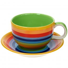 Handpainted Rainbow Cup & Saucer - Large